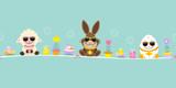 Easter Banner Sheep Bunny  Egg Sunglasses Retro Wall Sticker