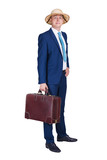 Businessman with suitcase, suit and travel hat, isolated over white background. - 192297745