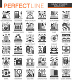 Vector Heavy and power industry black mini concept icons and infographic symbols set - 192300565