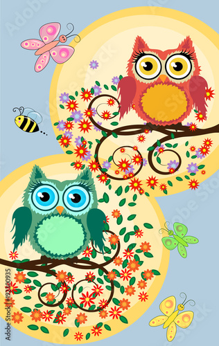 Fotobehang Uilen cartoon A family of bright, cartoon, cute, colorful owls on a flowering tree branch, parents, children, chicks