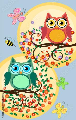 Foto op Plexiglas Uilen cartoon A family of bright, cartoon, cute, colorful owls on a flowering tree branch, parents, children, chicks