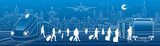 Transport panorama. Passengers get on the bus leaving the train. Travel transportation infrastructure. The plane is on the runway. Night city on background, vector design art
