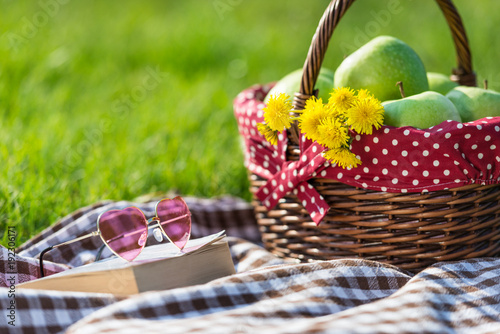 Foto op Canvas Gras picnic basket and blanket