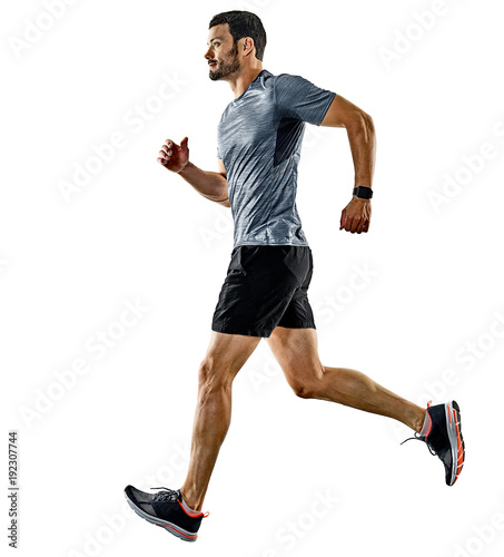 Foto op Canvas Jogging one caucasian man runner jogger running jogging isolated on white background with shadows