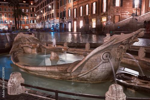 Rome, Fontana della Barcaccia in Piazza di Spagna at night