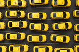 Fototapety 3D rendering of a traffic jam of yellow taxis