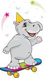 Happy hippo on skateboard - 192311106