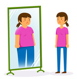 Unhappy woman looking in the mirror and seeing herself as fat