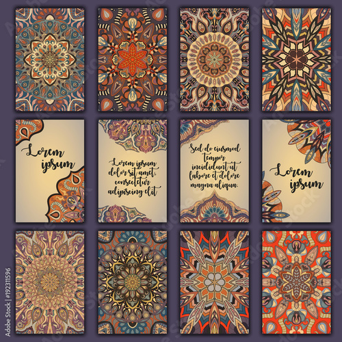 Card set with floral decorative mandala elements background. Asian Indian oriental ornate banners.