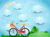 Surreal landscape with hanging clouds and bike - 192316309