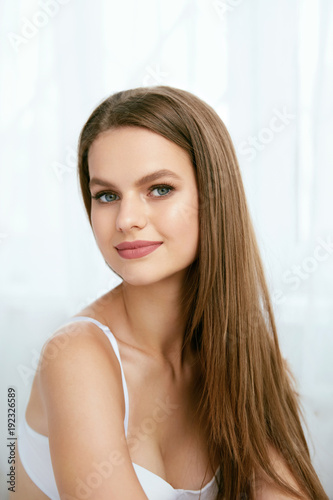 Beautiful Woman With Natural Makeup And Beauty Face.