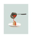 Hand drawn vector abstract modern cartoon cooking time fun illustrations icon with pancake and syrup isolated on white background.Food cooking illustration concept design - 192329737