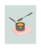 Hand drawn vector abstract modern cartoon cooking time fun illustrations icon with pan with cheese sauce isolated on white background.Food cooking illustrations concept design - 192330523