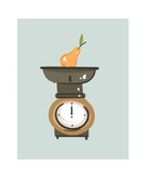 Hand drawn vector abstract modern cartoon cooking time fun illustrations icon with retro vintage kitchen scale isolated on white background.Food cooking illustrations concept design - 192330570