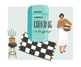 Hand drawn vector abstract modern cartoon cooking class illustrations poster with retro vintage woman chef,refrigerator and handwritten calligraphy Cooking classes isolated on white background - 192330925