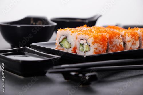 Foto op Plexiglas Sushi bar Japanese sushi and rolls cuisine