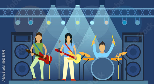 Concert pop group artists on scene music stage night and young rock metall band crowd in front of bright nightclub stage lights vector illustration.