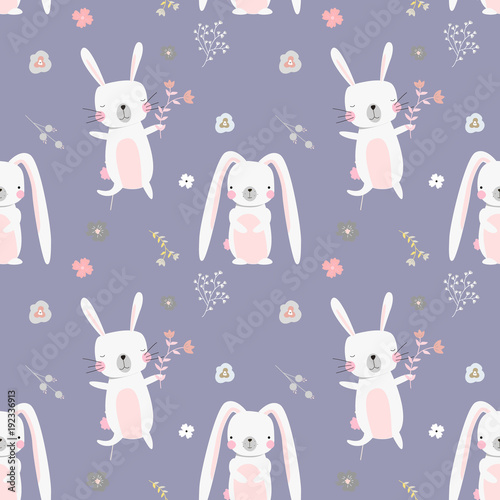 Materiał do szycia Lovely rabbits in hearts and flowers. Cute childish seamless pattern in cartoon style.