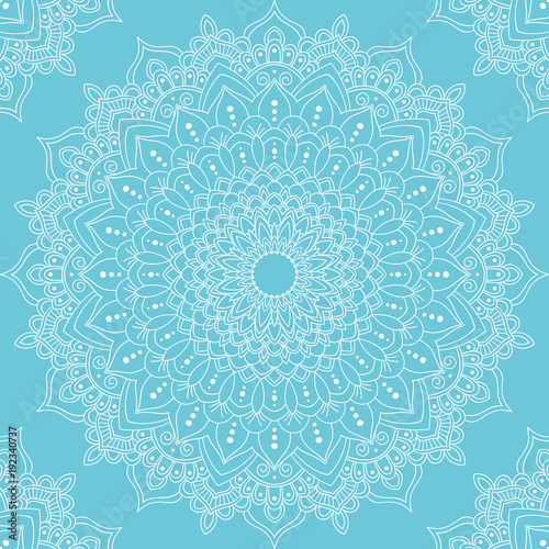 Seamless pattern with mandala ornament. Hand drawn vector illustration