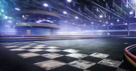 Cart race track finish line in motion background