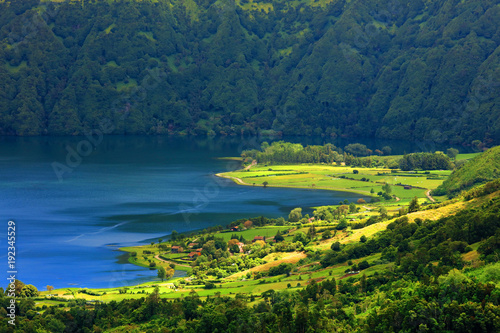 Foto op Canvas Nachtblauw Aerial view Lake Azul and Lake Verde, Sete Cidades, Sao Miguel Island, Azores Portugal