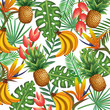 tropical garden with pineapple and banana cluster vector illustration design fruits, leaves and flowers, summer and exotic concept