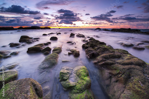 Plexiglas Lavendel beautiful view of sunset seascape with green moss at Kudat, Sabah Malaysia.