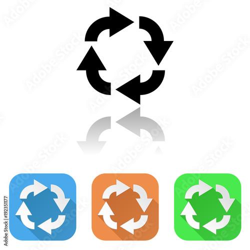 Arrows icon. Colored set of circular motion symbols
