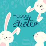 cute rabbit happy easter celebration vector illustration design - 192351923