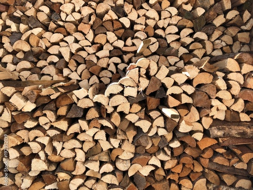 Keuken foto achterwand Brandhout textuur Firewood Stack Background in Winter