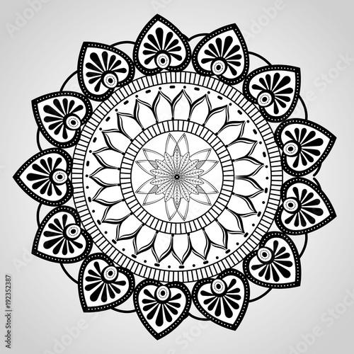 mandala monochrome decoration icon vector illustration design - 192352387