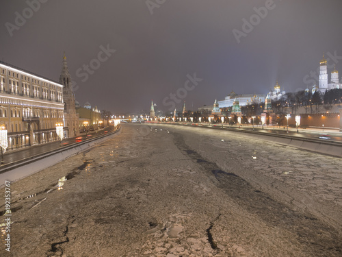 Moscow Russian Federation. The Moscow Kremlin in moving along the wall