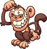 Cartoon monkey scratching its head. Vector clip art illustration with simple gradients. All in a single layer.  - 192360523