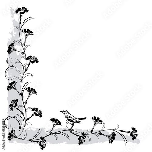 Tuinposter Vlinders in Grunge flourishes frame with bird