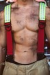Sexy firefighter muscular body
