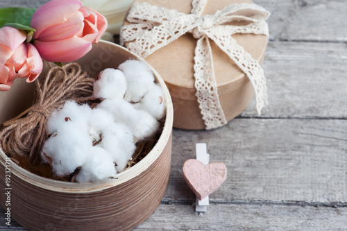 Pink white tulip flowers and craft gifts