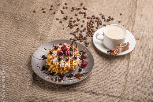 Sticker waffle cookies and coffee