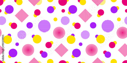 Vector seamless pattern with geometric shapes. Modern repeated texture. Abstract background in bright colors. Colored graphic random elements. Сheerful template backdrop. Vector illustration