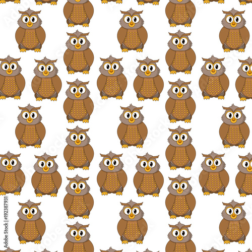 Fotobehang Uilen cartoon owl cute wild animal character background
