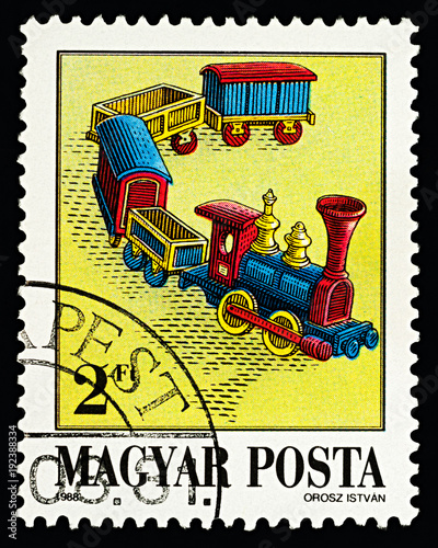 Little train on postage stamp