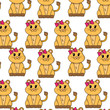 female lion cute animal with ribbon bow background