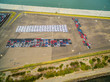 Aerial view of large parking lot with new imported cars in Port Melbourne, Australia