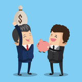Businessman with money bag and savings icon vector illustration graphic design