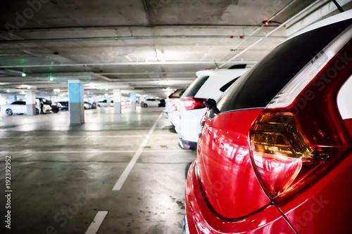 cars in parking garage interior