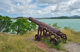 An old cannon at Fort James, Antigua - 192395905