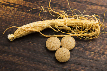 Korean ginseng. Root and pills