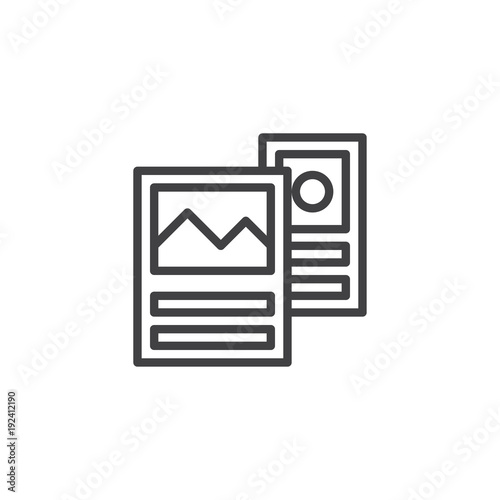 Travel brochure guide outline icon. linear style sign for mobile concept and web design. Flyer simple line vector icon. Symbol, logo illustration. Pixel perfect vector graphics