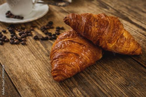 Papiers peints Cafe Croissant and coffee