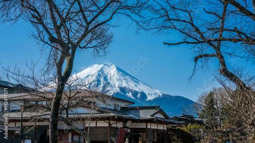 Foto op Aluminium Blauw House And Mount Fuji View In Tokyo, Japan ; January 18, 2018