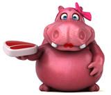 Pink Hippo - 3D Illustration - 192415508